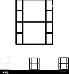 video movie film bold and thin black line icon set [ 1270 x 1390 Pixel ]