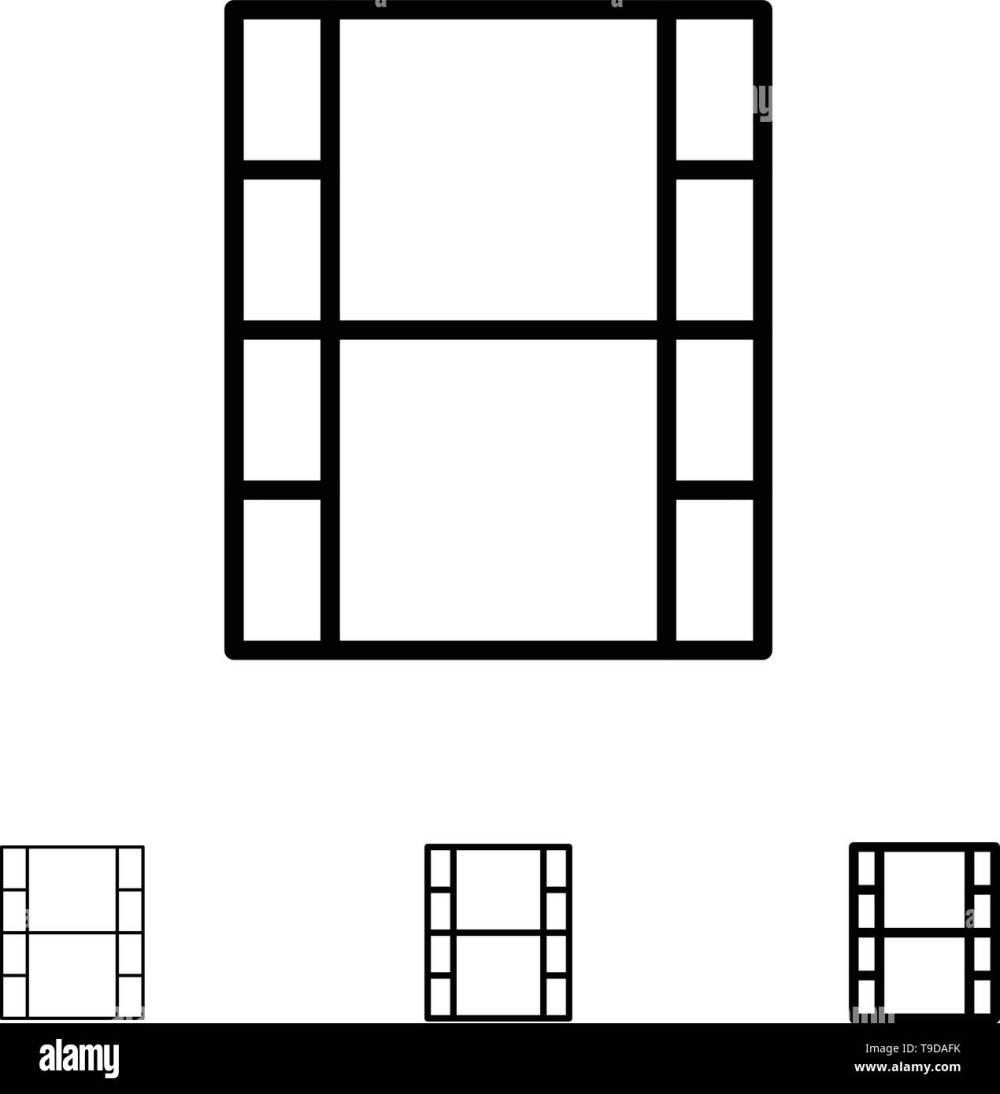 medium resolution of video movie film bold and thin black line icon set