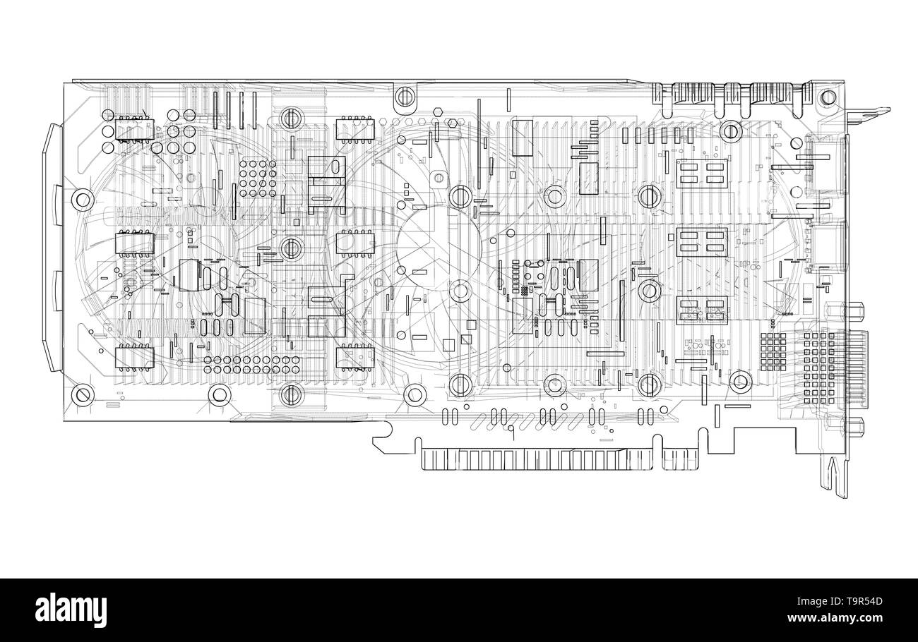 hight resolution of gpu card outline vector