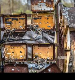 old rusty fuse box in an abandoned old building in belarus chernobyl exclusion zone [ 1300 x 956 Pixel ]