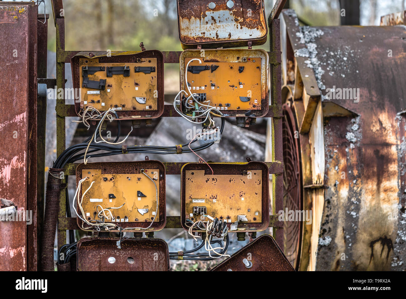hight resolution of old rusty fuse box in an abandoned old building in belarus chernobyl exclusion zone