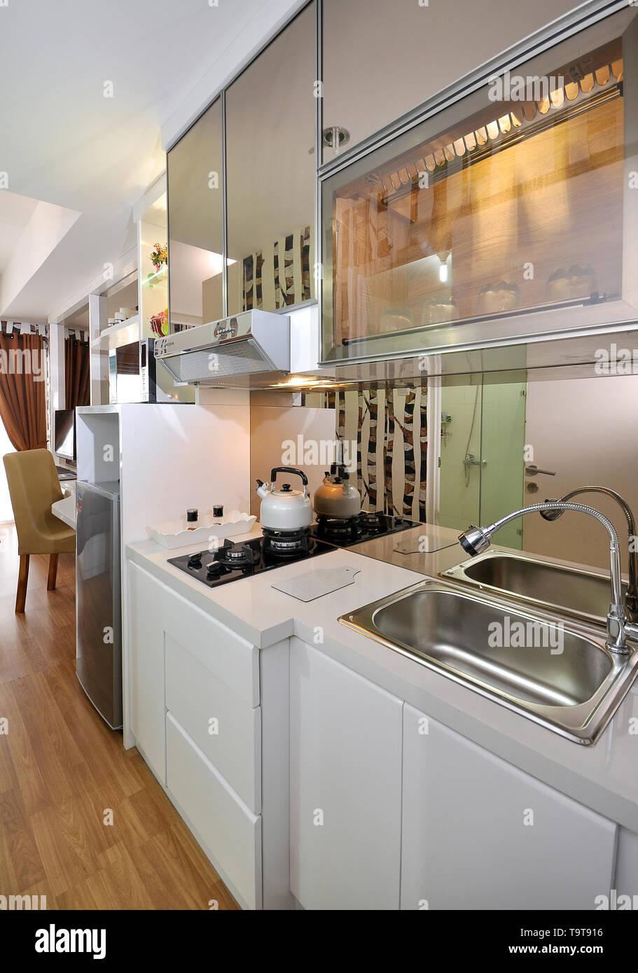 Kitchen Set At Small Apartement Studio Type Stock Photo Alamy