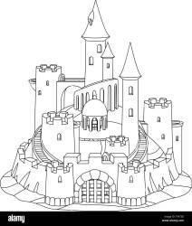 vector black white fantasy castle sand sandcastle fort sculpture Stock Vector Image & Art Alamy