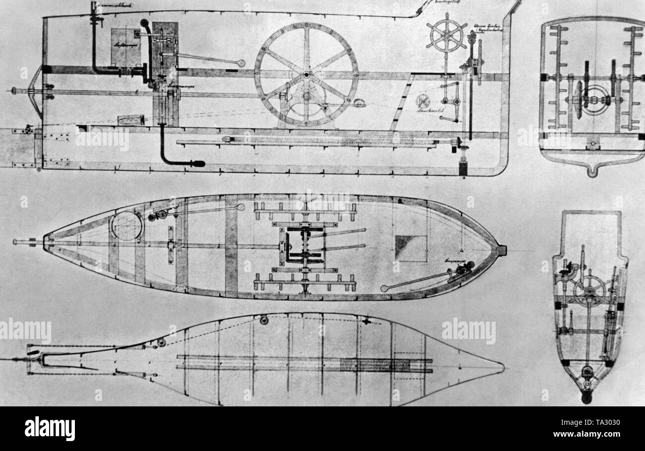 hight resolution of side sketch of the brandtaucher the first german submarine the brandtaucher sank in 1851 during acceptance trials on the kiel fjord