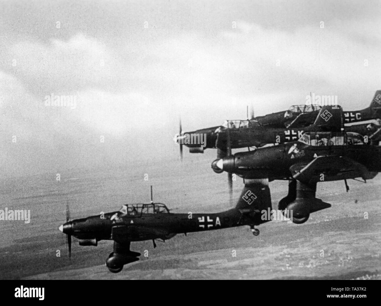 hight resolution of a formation of german junkers ju 87 b stuka in france