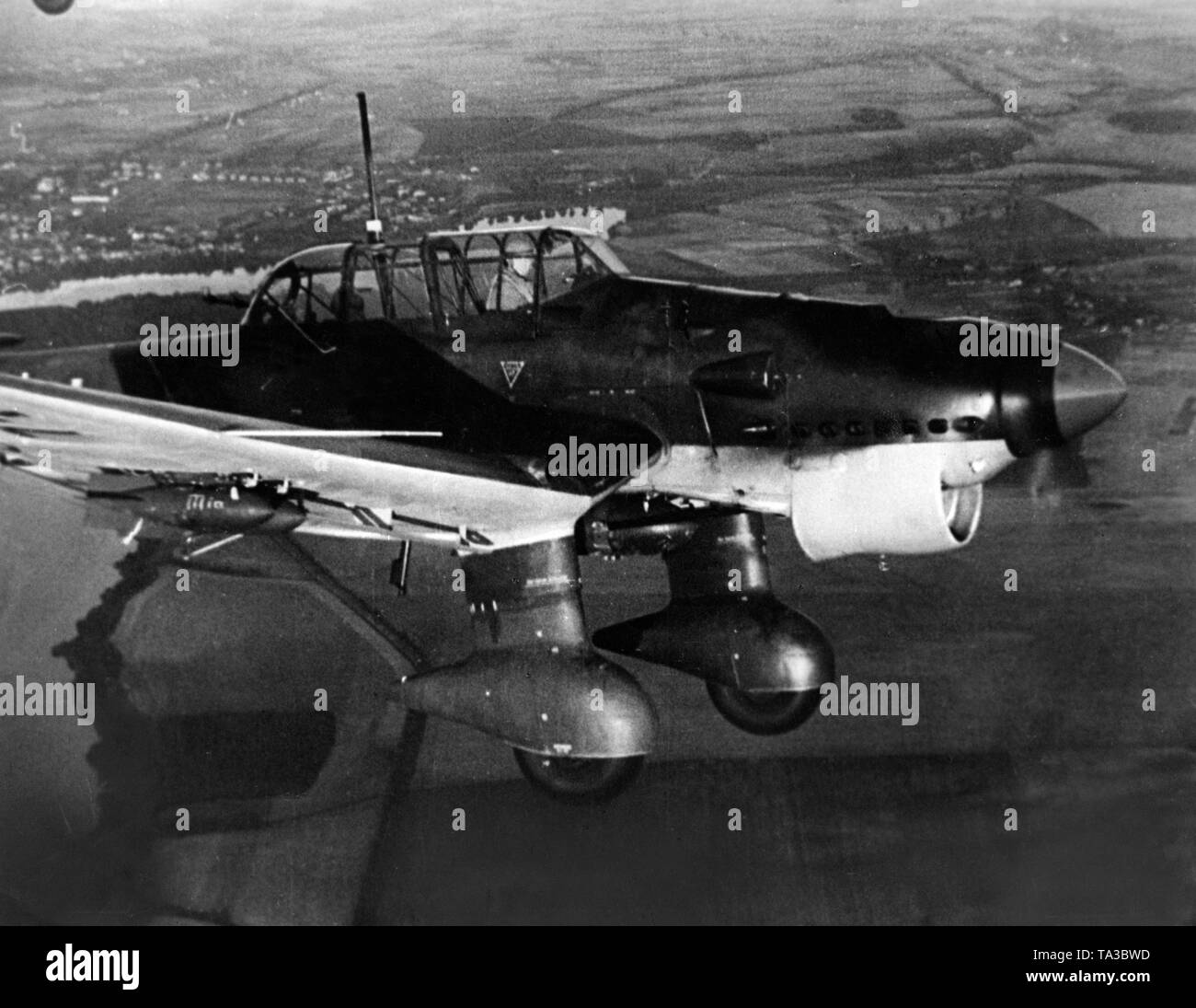 hight resolution of a dive bomber of the type junkers ju 87 in deployment in france stock