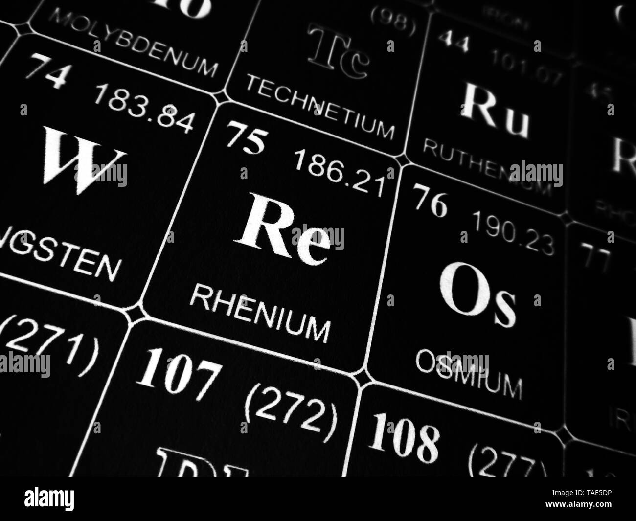 hight resolution of rhenium on the periodic table of the elements stock image
