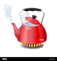 Red kettle with boiling water on kitchen stove flame Stock Vector Image & Art Alamy