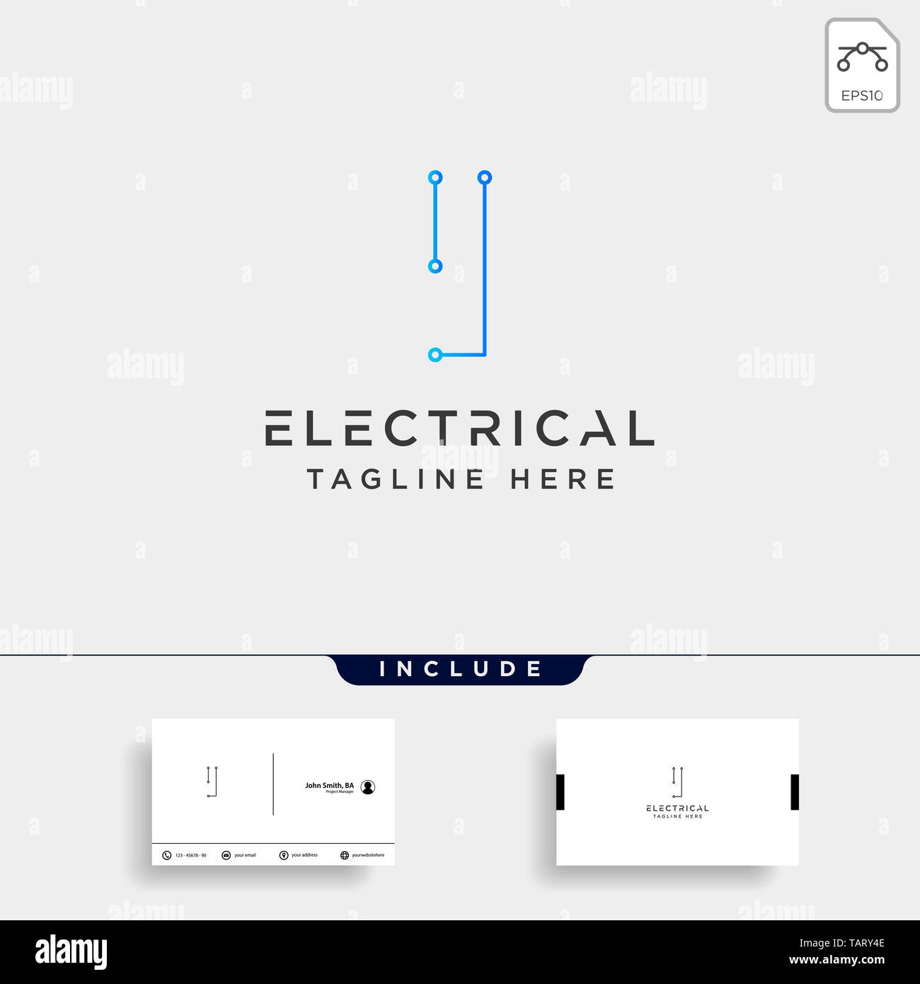 hight resolution of connect or electrical i logo design vector icon element isolated with business card include stock