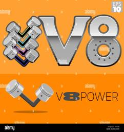 v8 engine power with pistons logo stock image [ 1300 x 1390 Pixel ]