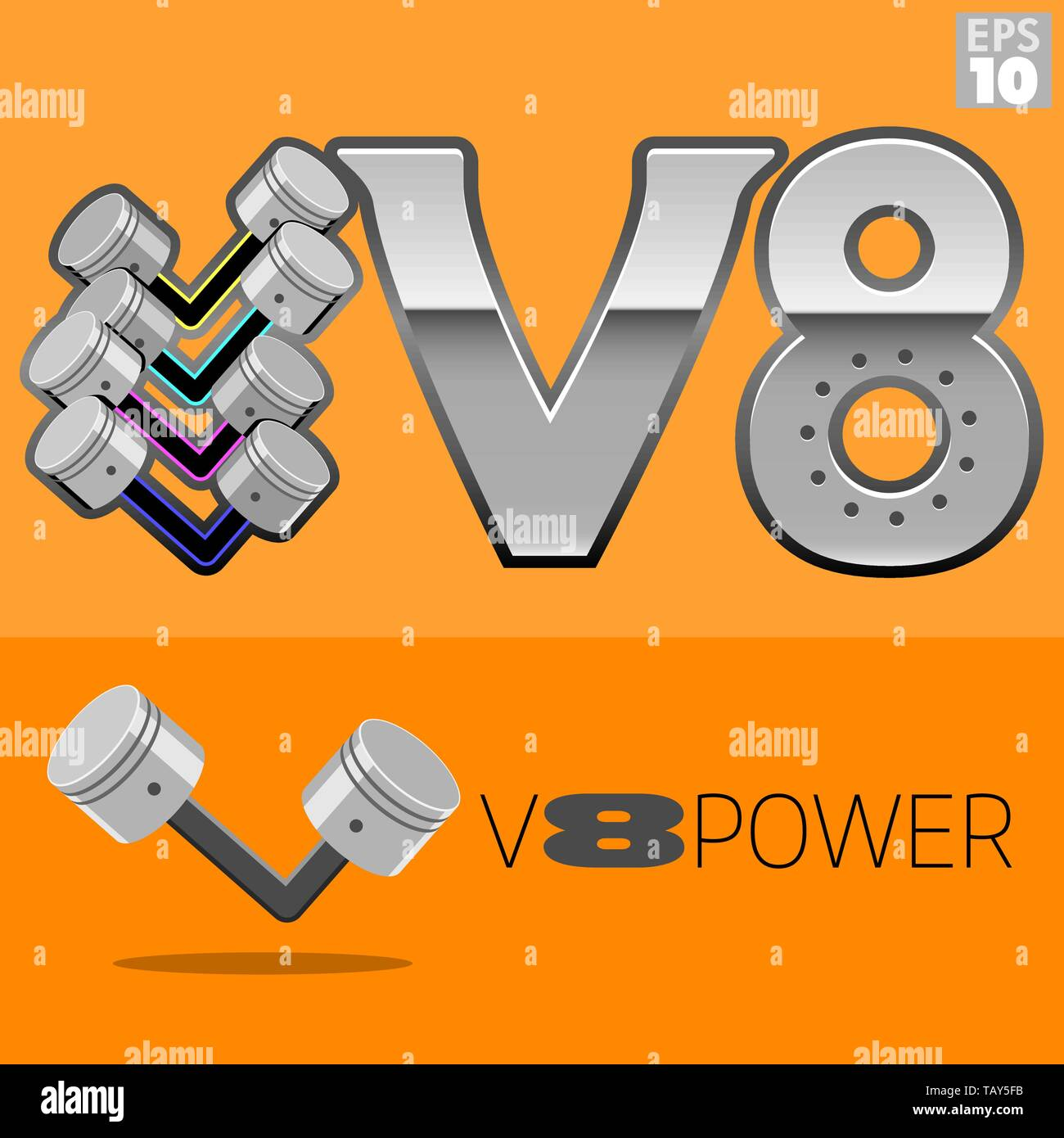 hight resolution of v8 engine power with pistons logo stock image