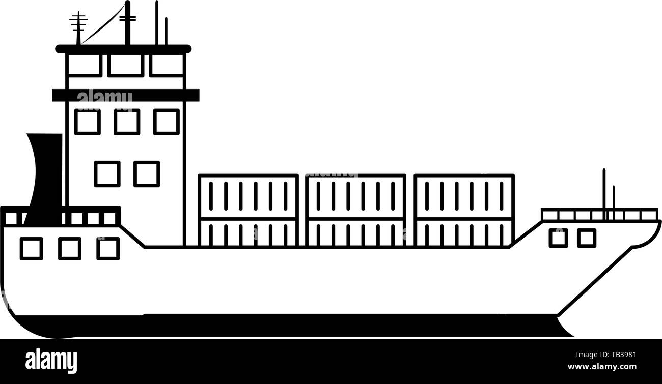 hight resolution of freighter ship boat with containers in black and white