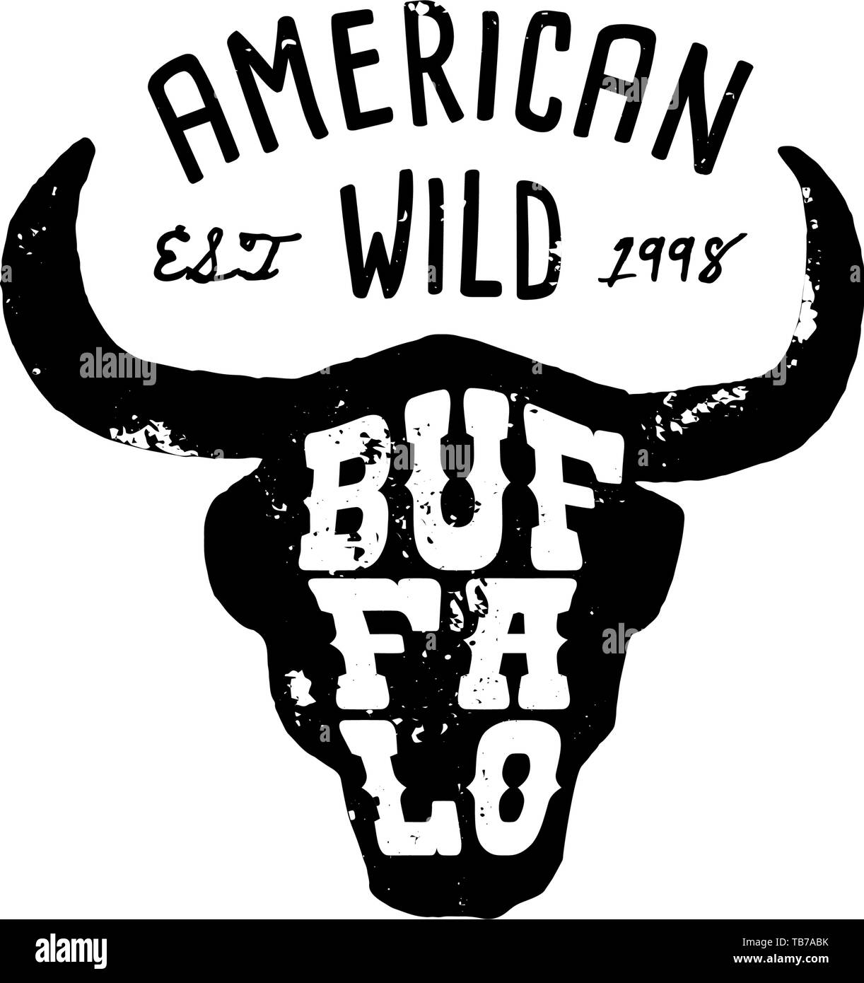 western logo skull buffalo
