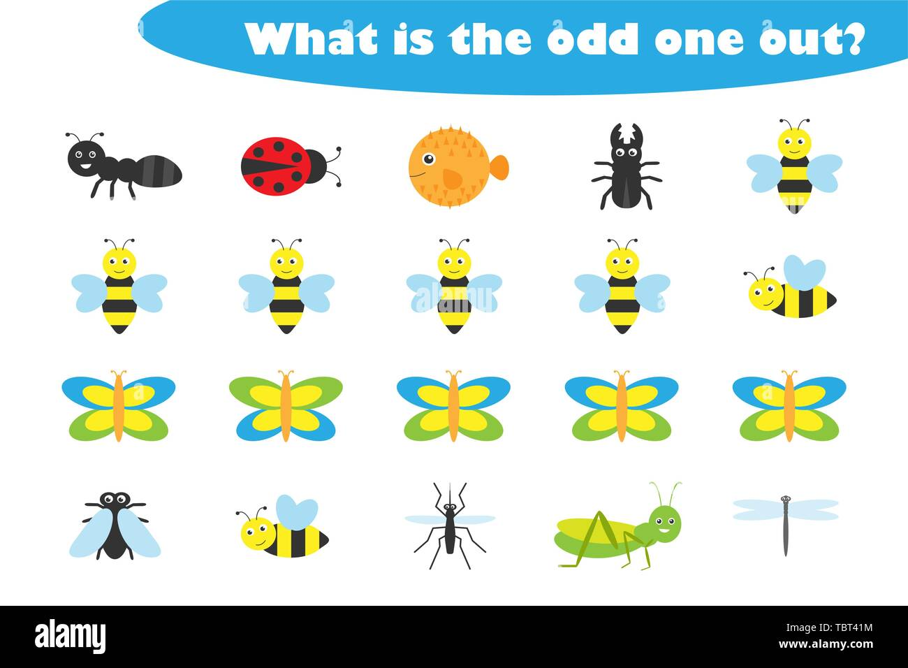 What Is The Odd One Out For Children Insects Theme In