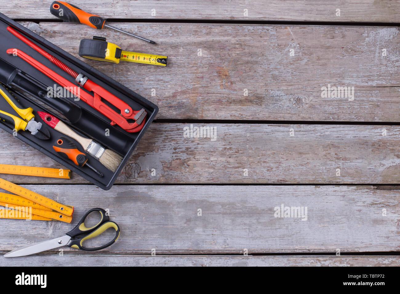 tool kit on wooden