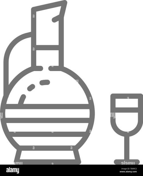 small resolution of georgian wine chacha line icon stock image