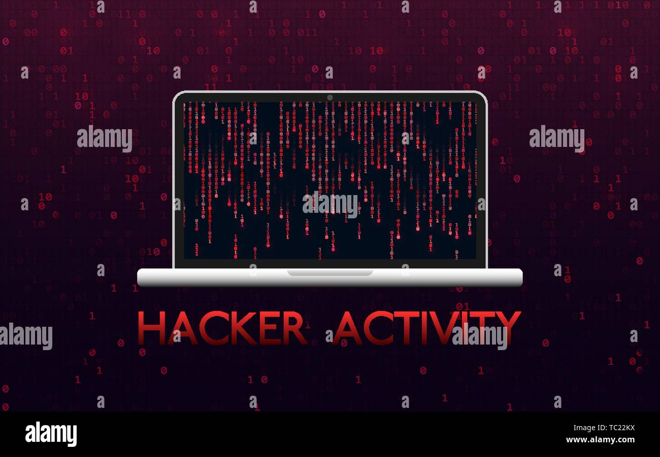hight resolution of hacker activity concept hacked laptop on red binary background malware design with matrix backdrop