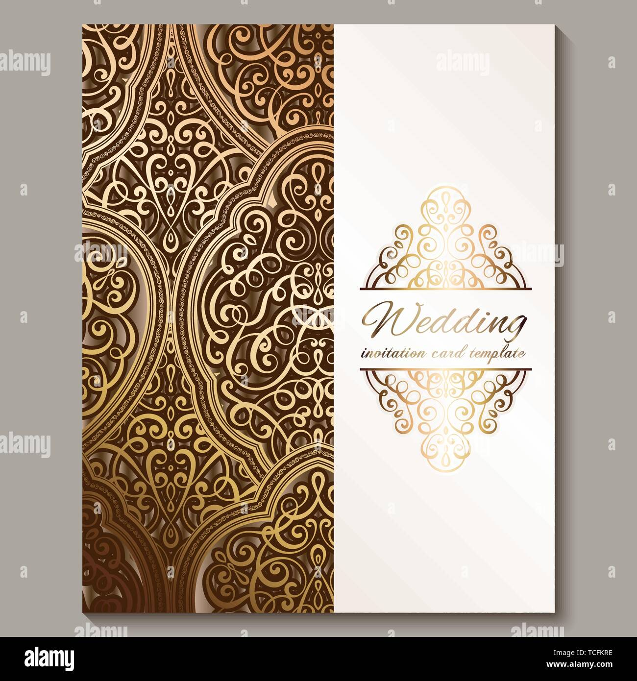 https www alamy com wedding invitation card with bronze and gold shiny eastern and baroque rich foliage ornate islamic background for your design islam arabic indian image248665858 html