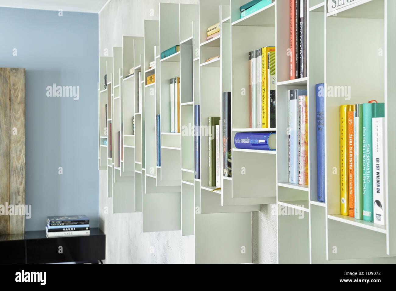 Books In Open White Wall Mounted Bookcase Uk Irish Use
