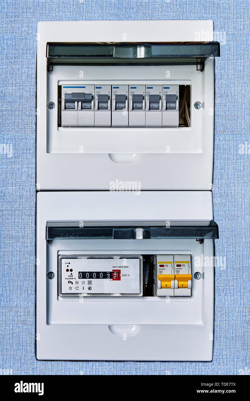 medium resolution of electric circuit breaker box of home electrical system with new modern electronic electrical meter