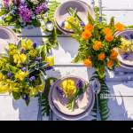 Florist Design Wedding In Rustic Style Bouquets Of Wild Flowers Outdoor Wedding Stock Photo Alamy