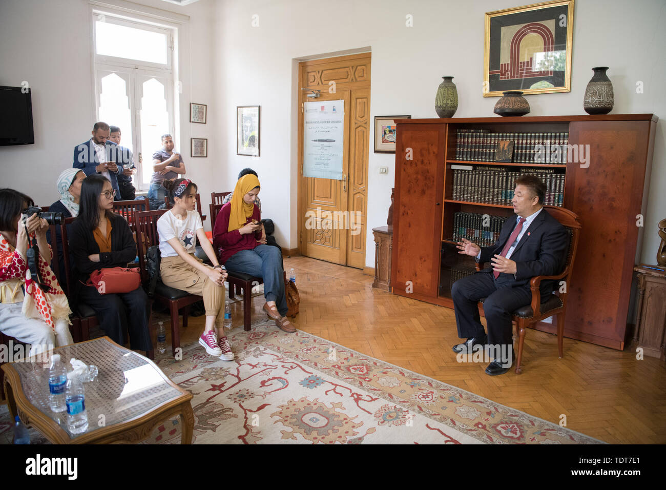 Cairo Egypt 18th June 2019 Chinese Cultural Counselor To Egypt Shi Yuewen R Speaks During The