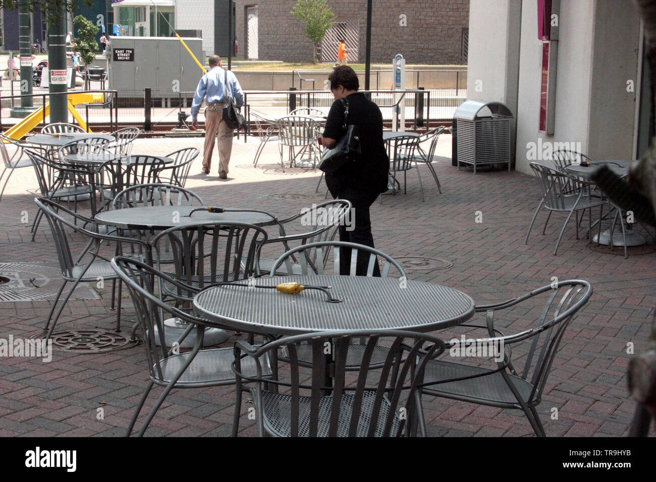 https www alamy com restaurant tables and chairs secured during closing hours in downtown charlotte nc usa image255293903 html