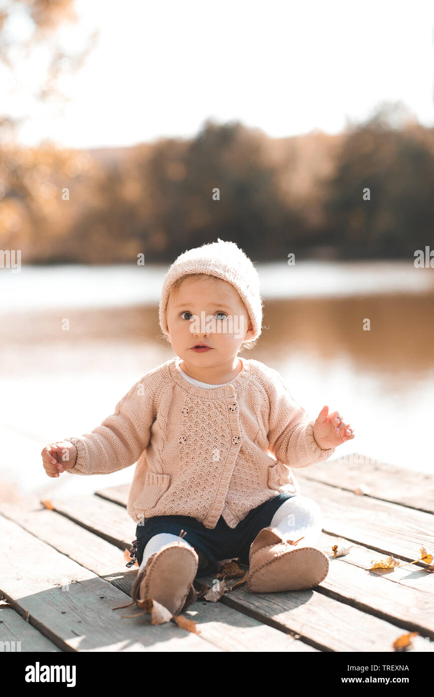 1 Year Baby Girl Pictures : pictures, Wearing, Stylish, Knitted, Clothes, Posing, Autumn, Outdoors., Looking, Camera, Stock, Photo, Alamy