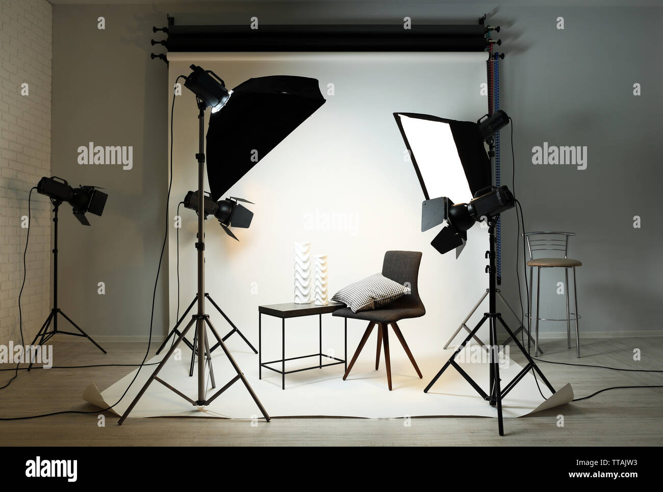 https www alamy com photo studio with modern interior and lighting equipment image255931231 html
