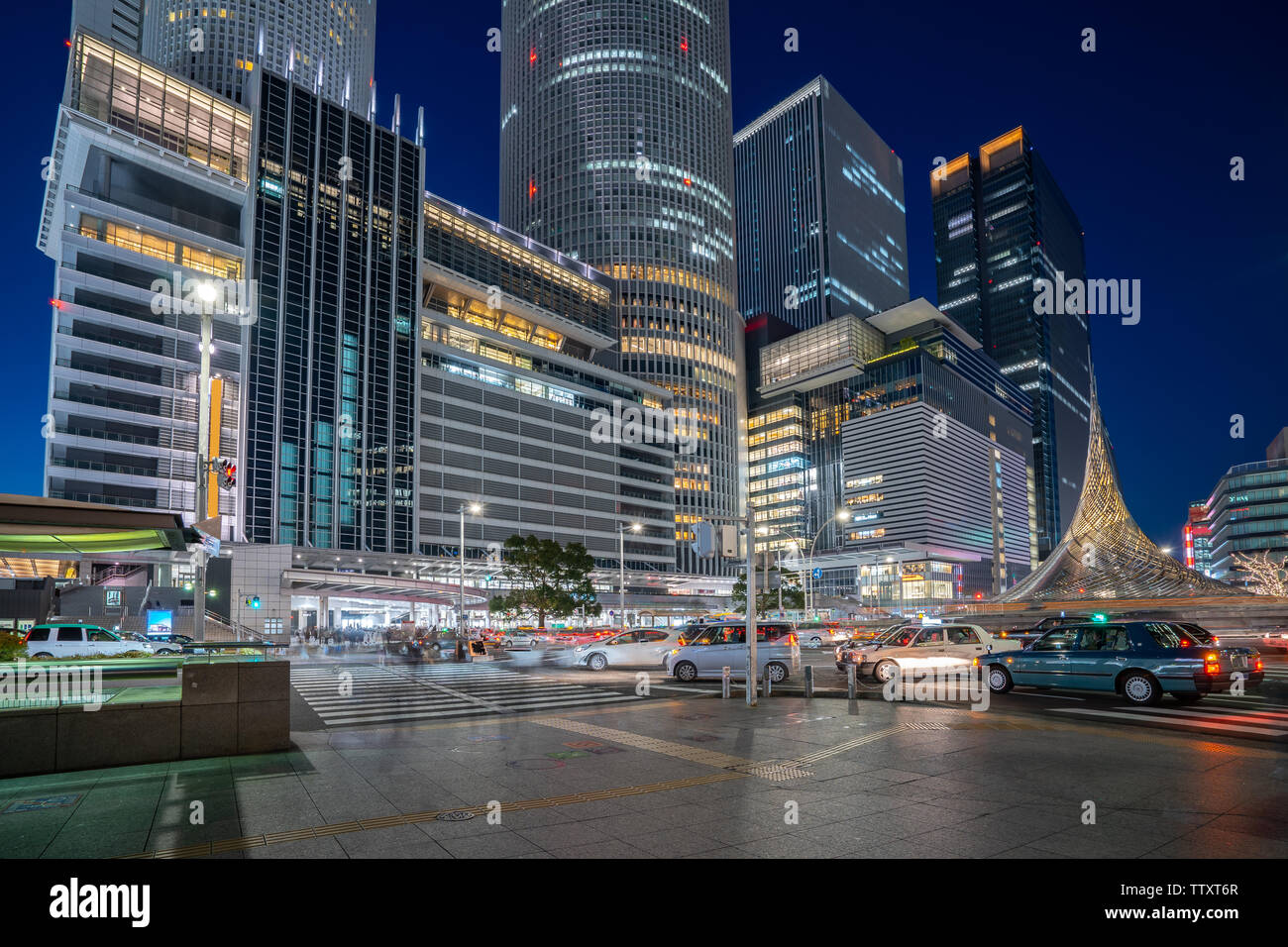 Central Of Nagoya City At Night In Nagoya Japan Stock Photo