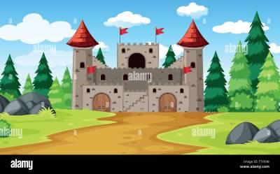 A fantasy castle background illustration Stock Vector Image & Art Alamy