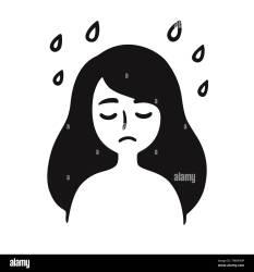 sad cartoon depression face drawing mental health simple clip rain under sadness vector illust emotions alamy young