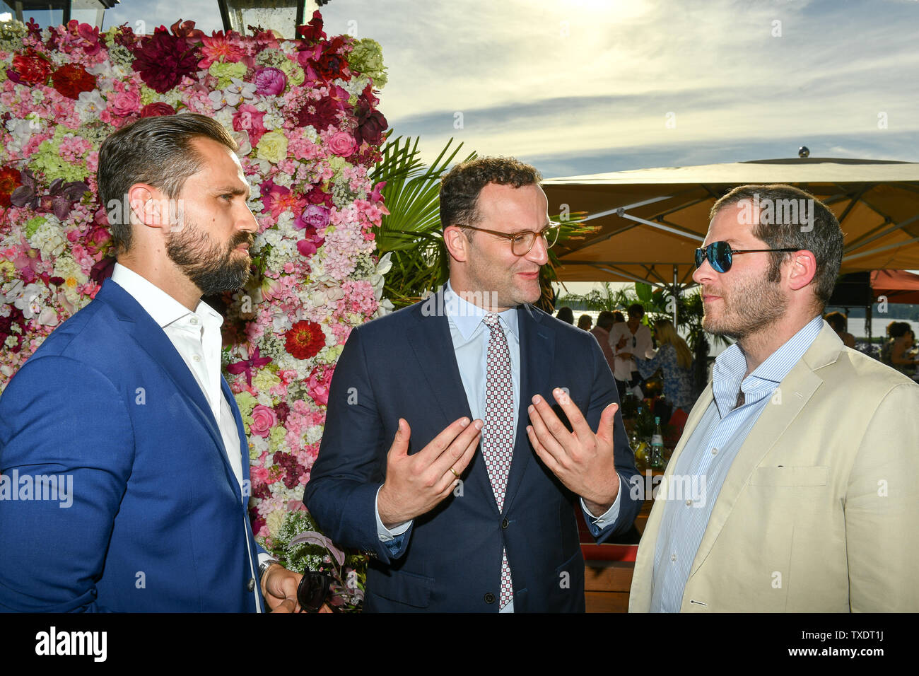 https www alamy com berlin germany 24th june 2019 jens spahn m cdu his life partner daniel funke l and julian reichelt editor in chief of the bild newspaper talk at the summer party of bild hilft ev ein herz fr kinder in the restaurant wannseeterrassen credit jens kalaenedpa zentralbilddpaalamy live news image257230446 html