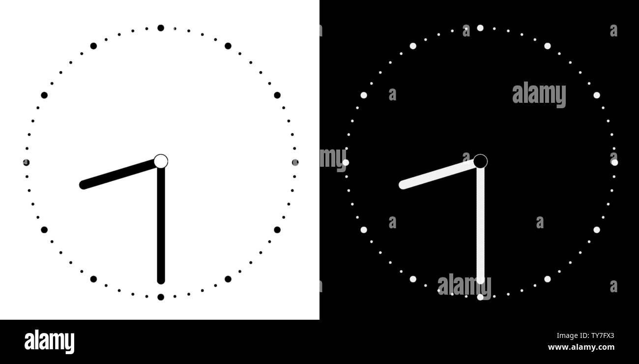 hight resolution of set of illustrations of a simple clock face of white and black with clock and minute