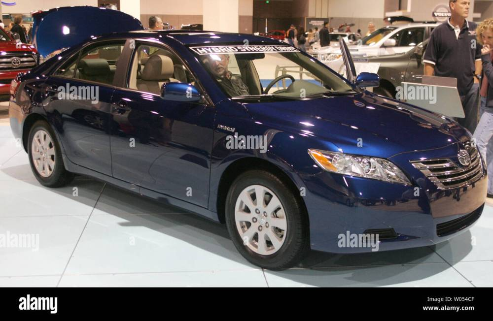 medium resolution of a toyota camry hybrid is on display at the 2009 san diego international auto show at