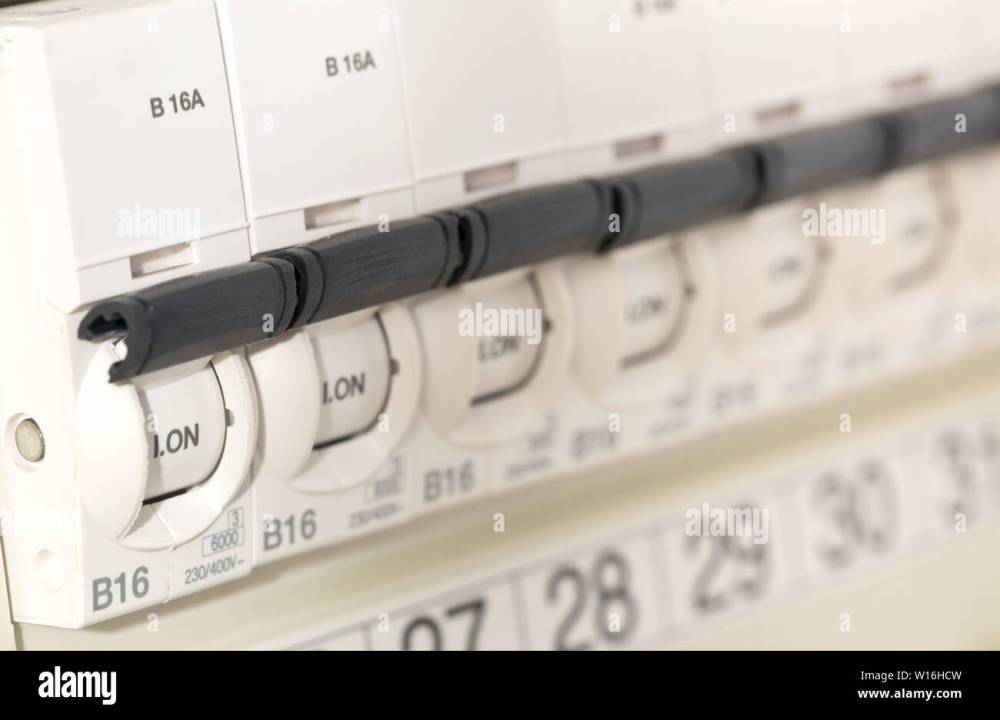 medium resolution of electric circuit breaker fuse box in private home close up with selective focus stock image