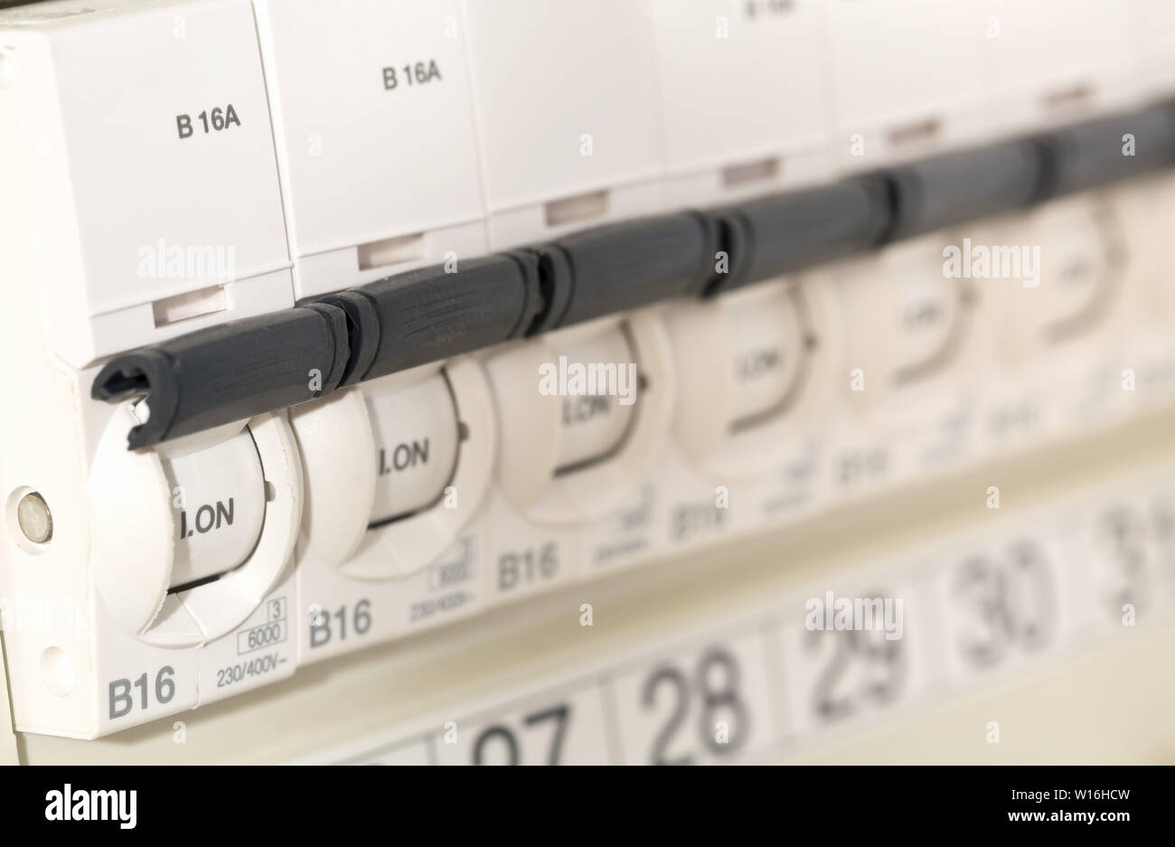 hight resolution of electric circuit breaker fuse box in private home close up with selective focus stock image