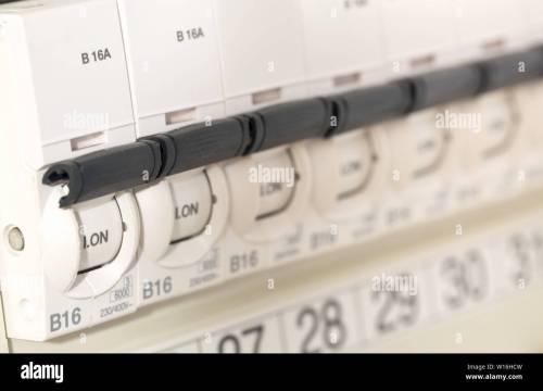 small resolution of electric circuit breaker fuse box in private home close up with selective focus stock image