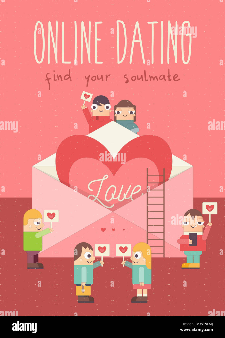 https www alamy com online dating poster cute cartoon people with hearts idea of internet or remote relationship wedding love big heart in envelope vector illustrat image258980082 html