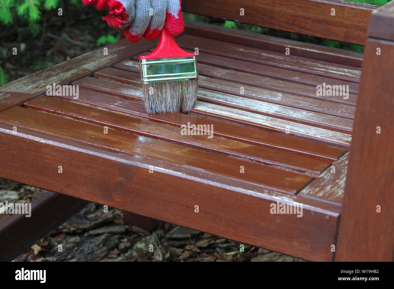Garden Furniture Brush Painting Hand Painting The Wooden Chair Outdoor Stock Photo Alamy