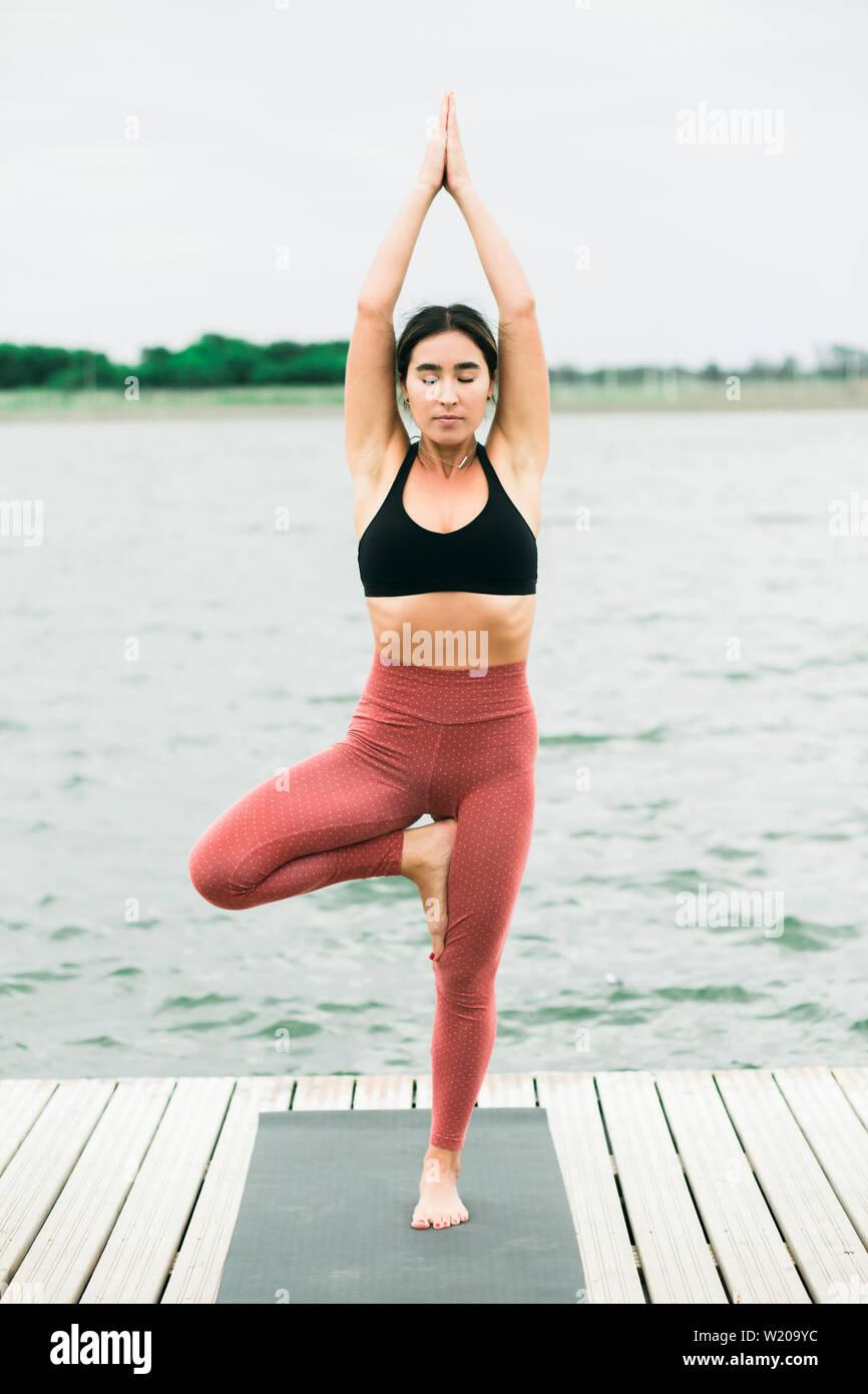 Yoga Pants Asian : pants, asian, Young, Asian, Doing, Outdoors, Lake., She's, Wearing, Black, Leggings, Stock, Photo, Alamy