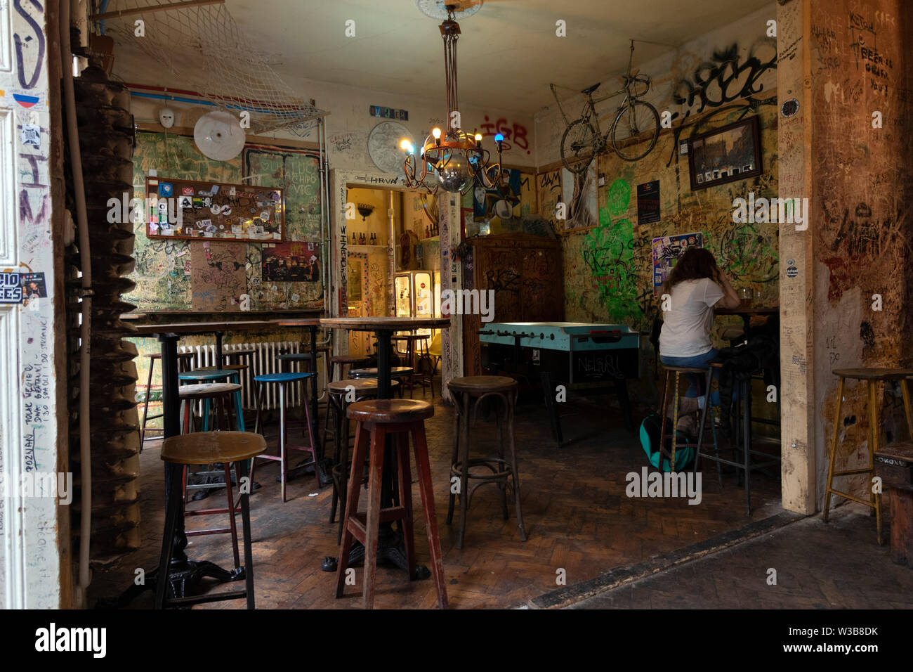 https www alamy com budapest hungary april 09 2019 interiors with vintage furniture and table soccer in szimpla kert ruin pub a popular destination image260247615 html