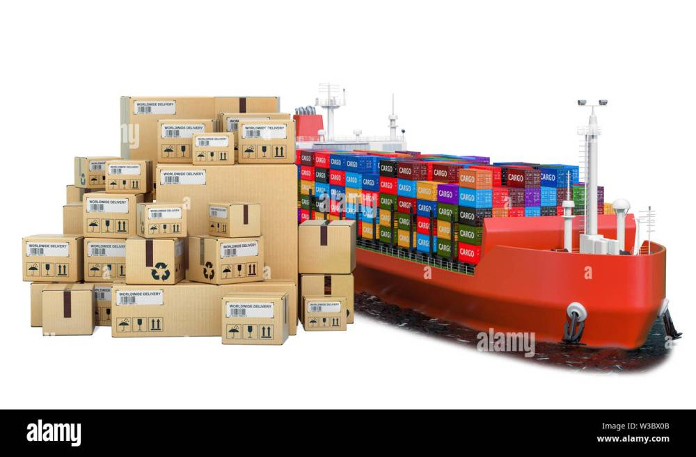 medium resolution of cargo shipping concept cargo ship with parcels 3d rendering