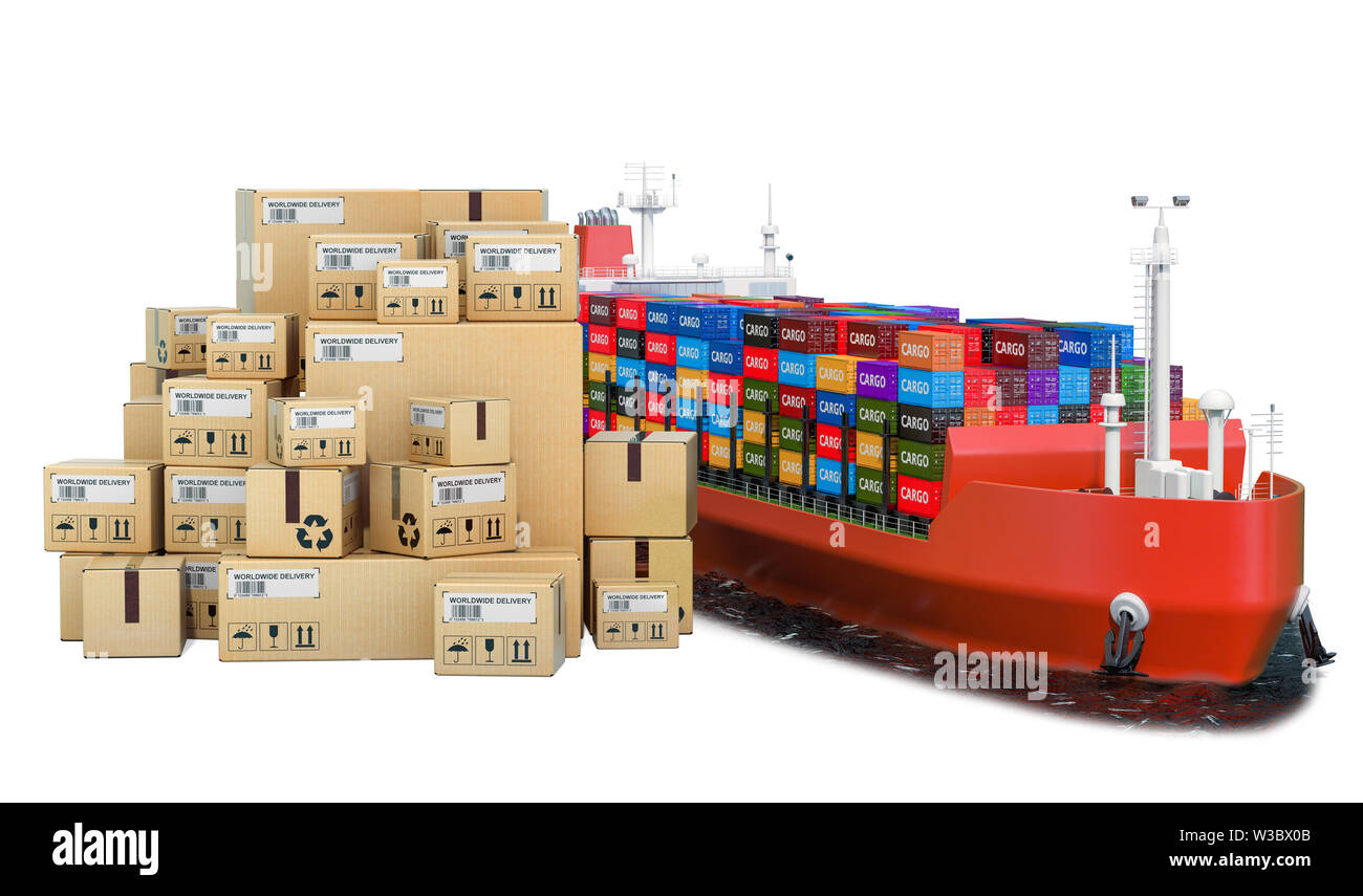 hight resolution of cargo shipping concept cargo ship with parcels 3d rendering