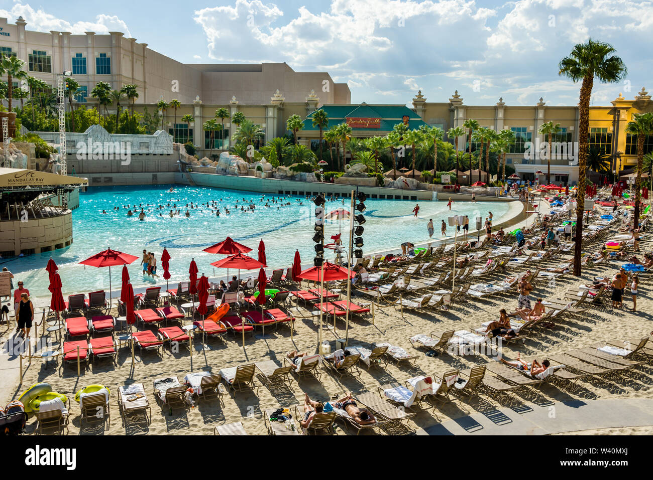 Please call cabana reservations at 877.632.7106 for reservations and questions. Mandalay Bay Resort Wave Pool Stock Photo Alamy