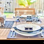 Colorful Designing On Cups White Ceramics Plate Including Designs Outdoor Dining Table With Ceramic And Decorations Glasses Also Knifes Near Plates Stock Photo Alamy