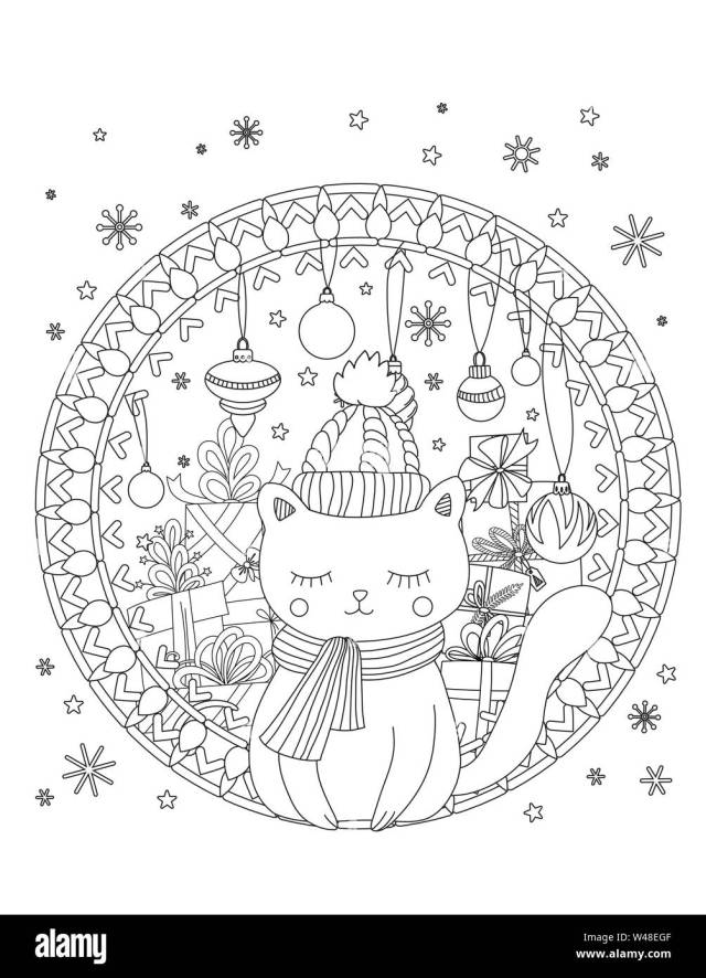 Christmas coloring page. Adult coloring book. Cute cat with scarf