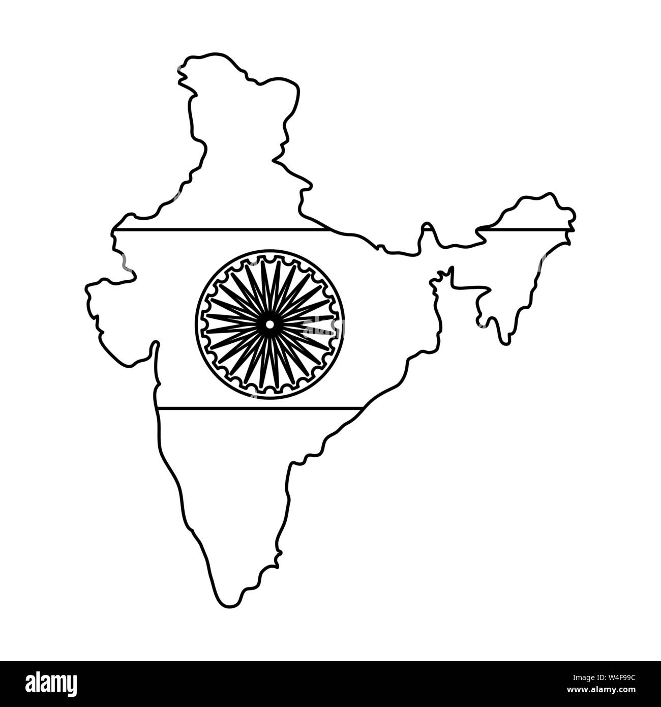 hight resolution of map of indian with ashoka chakra vector illustration design stock image
