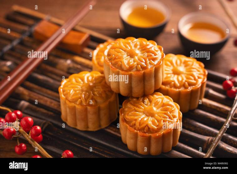 Moon cake Mooncake table setting - Round shaped Chinese traditional pastry  with tea cups on wooden background, Mid-Autumn Festival concept, close up  Stock Photo - Alamy