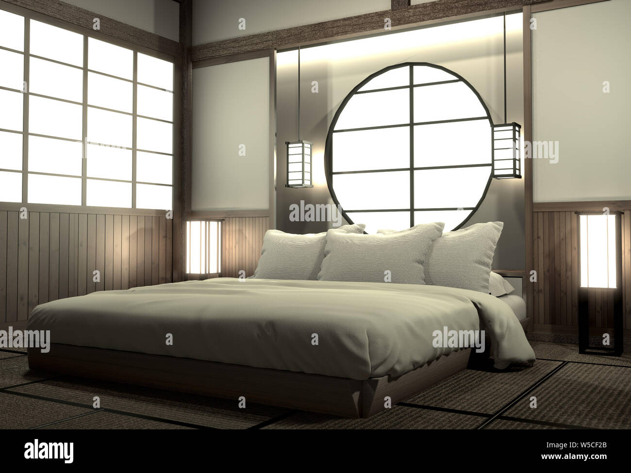 Bedroom Modern Zen Interior Design With Decoration Japanese Style 3d Rendering Stock Photo Alamy